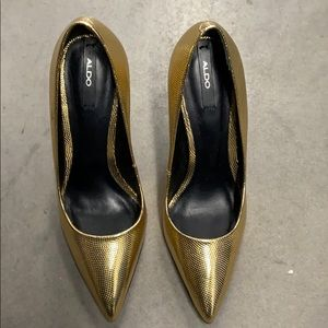 Gold heels. Worn once